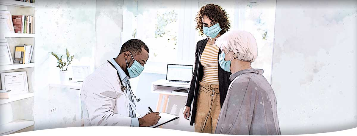 A caregiver looks on as a doctor meets with her client during an in-office medical appointment, with all three wearing masks