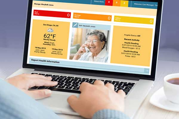 A desktop view of the caregiver's dashboard that's part of the e-Fox Telehealth system