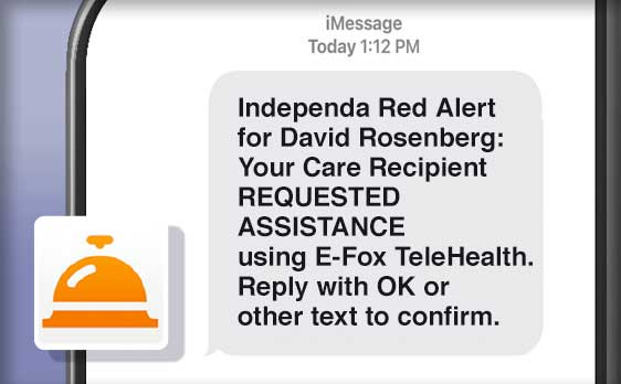 What an alert looks like on a mobile phone once the e-Fox Telehealth's call button has been activated